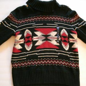 Chaps Sweater Aztec Fair Isle Black Red Large New